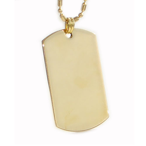 Gold dog tag, pendant