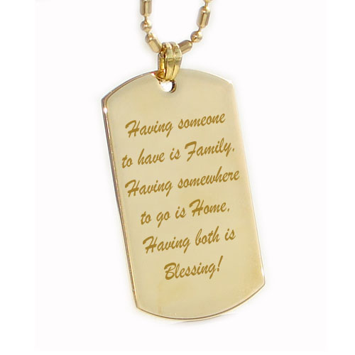 Text engraved pendant, dog tag