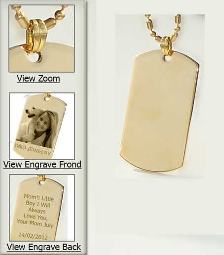 Army size gold dog tag pendant gold pendant p24g dog tag aloadofball Choice Image