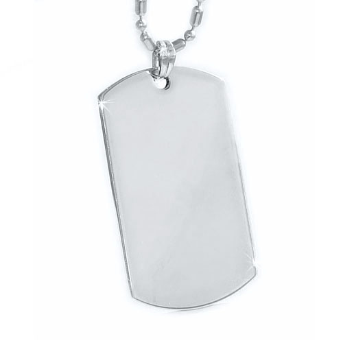 silver dog tag, pendant