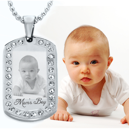 Picture engraved Stainless Steel DOG TAG