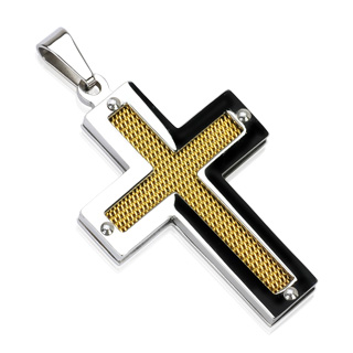 Stainless Steel IP Gold Center Screen Cross Pendant